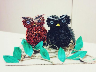 card board love owl art craft project recycles